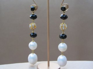 Long Drop Earrings in Gold Tone with Shimmering Faux Pearls and Black Beads