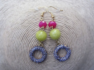 Purple Rhinestone Earrings with Pink and Lime Green Beads