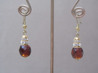Amber Facet Bead Clear Rhinestone Earrings in Gold Tone