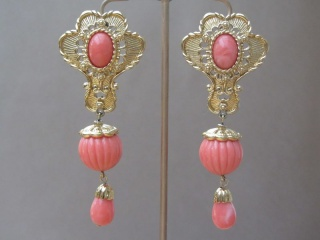 Vintage 1991 Faux Coral & Gold Tone Earrings by Jose Maria Barrera for AVON