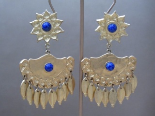Vintage 1970s Egyptian Style Earrings with Blue Cabochons