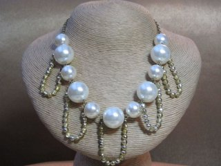 Vintage 1980s Faux Pearl Crystal Bead Necklace