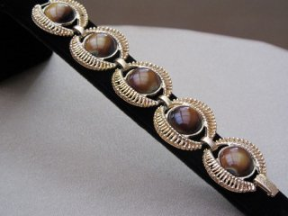 Vintage 1980s Tigers Eye Link Bracelet in Gold Tone