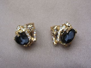 Vintage 1980s Black and Gold Tone Leopard Rhinestone Clip On Earrings