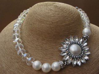 Clear Crystal and White Faux Pearl Necklace with Oval Cut Crystal Side Pendant and Matching Oval Cut Crystal Earrings