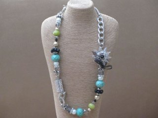Long Necklace with Sequined Beads Crystals and Faux Pearls in a Silver Tone Setting