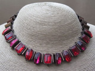 Ruby Crystal Three Piece Set Encased in an Antique Bronze Metal Setting