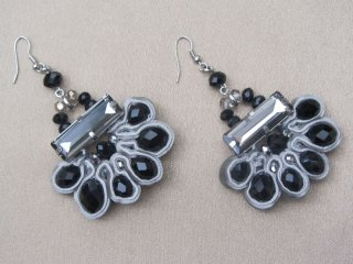 Grey Velvet Entwined Crystal Bead Earrings in a Silver Tone Setting