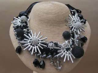 Outstanding Metal Linked Necklace Entwined with Black Velvet Silver Metallic Stars Crystal Balls and Beaded Baubles