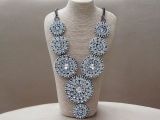 Glitzy Sparkling Rhinestone Disc Bib with a Metal Box Linked Chain