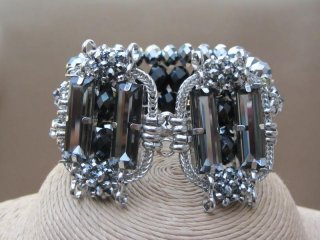 Elasticated Jet and Pewter Beaded Crystal Bracelet with Matching Glass Crystal Clip On Earrings