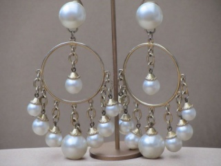 Vintage 1980s Faux Pearl Charm Bracelet and Earrings Set
