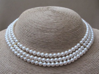 Vintage 1960s RICHELIEU Faux Pearl Necklace and Bracelet Set