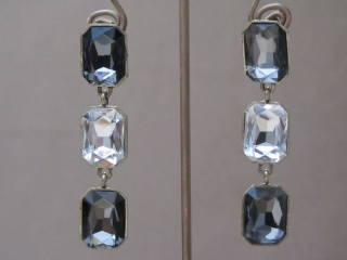 Long Cut Crystal Earrings with Matching Crystal and Rhinestone Curb Chain Bracelet
