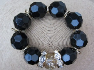 Black Bead Bracelet with Rhinestones