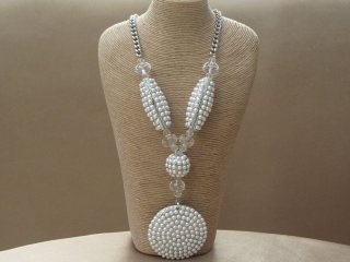 Long Faux Pearl and Clear Glass Crystal Pendant Necklace in a Silver Tone Setting