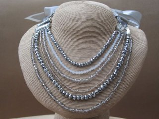 Pewter and Smoky Quartz Glass Crystal Bead Loop Style Necklace with Satin Ribbon Tie
