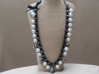 Long Faux Pearl Box Link Necklace Entwined with Corded Satin Ribbon