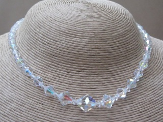 Vintage 1950s Austrian Clear Crystal Single Strand Necklace