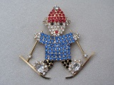 Vintage 1980s Skiing Bear Brooch in Colourful Rhinestones