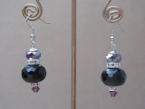 Black Crystal Ball Earrings with Clear Rhinestones in Silver Tone