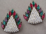 Vintage 1980s Large Multicoloured Diamante Rhinestone Clip On Earrings