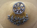 Vintage 1960s Tassel Style Brooch in Metallic Blue and Gold Tone