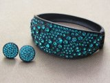 Blue Zircon Bracelet with a Black Metal Wrist Clasp and Matching Stud Earring Set
