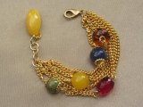 Italian Glass Bead and Crystal Gold Tone Charm Bracelet