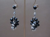 Silver and Black Crystal Facet Bead Earrings