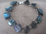 Vintage Abalone Bracelet and Earring Set