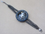 Midnight Blue and Pewter Crystal Disc Bracelet and Earring Set