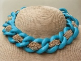 Blue Loop Ring Gold Chain Collar Necklace with Matching Earrings