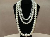 Vintage 1980s Long Faux Pearl Four Strand Necklace