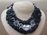 Black Velvet Satin Ruffled Silver Tone and Crystal Bead Bib Style Necklace with Satin Ribbon Tie
