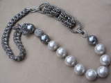 Grey Velvet Entwined Metal Chain Necklace with Large Shimmering Faux Pearls