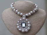 Milky Coffee Coloured Velvet Necklace with Shimmering Faux Pearls Entwined