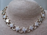 Vintage 1980s Gold Tone Stars and Rhinestones Necklace