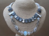 Satin Entwined Necklace with Glass Crystal Faceted Beads